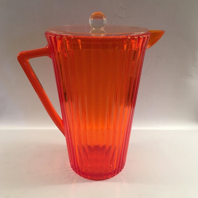 Memphis Vintage Orange Lucite Pitcher For Sale - Image 3 of 5