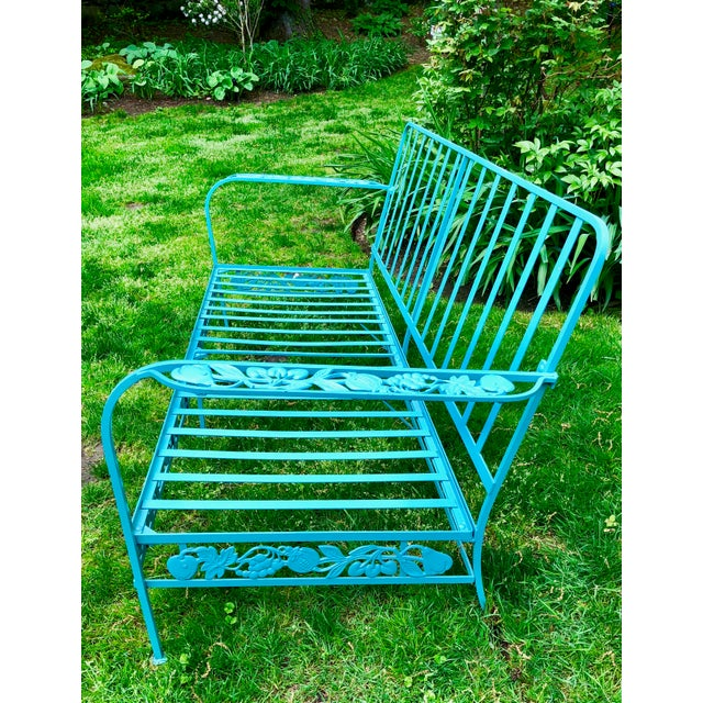 Americana Vintage Woodard Style Blue Wrought Iron Sofa With Harvest Motif For Sale - Image 3 of 9