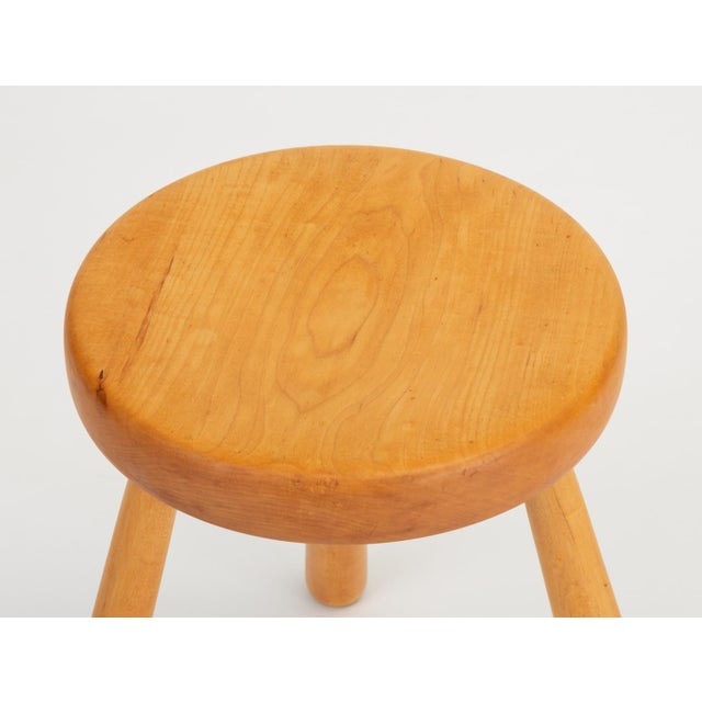 Tan French Rustic Modern Three-Legged Stool in Pine Wood For Sale - Image 8 of 10