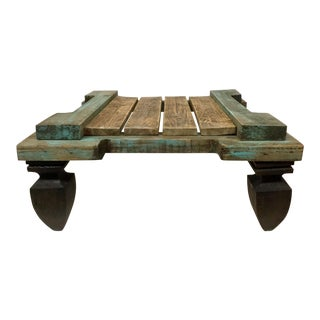 Boho Chic Reclaimed Hardwood Meditation Table For Sale