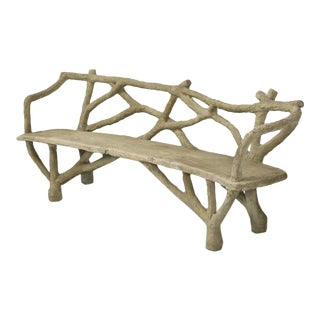 Antique French Faux Bois Concrete Bench Redont For Sale