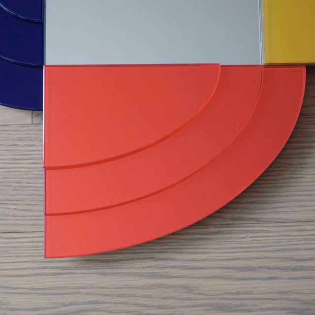 2007 Sottsass Postmodernism Mirror in Green Blue Yellow Pink for Glas Italia For Sale In New York - Image 6 of 12