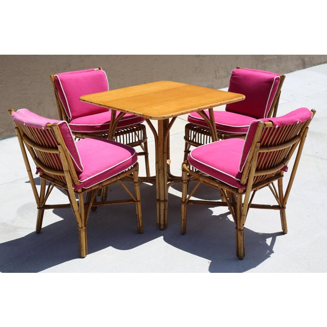 Boho Chic Vintage Ficks Reed Rattan Dining Table With 4 Chairs - Set of 5 For Sale - Image 3 of 9