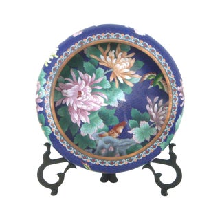 Large Blue Cloisonné 'Flower Bowl' and Rosewood Stand