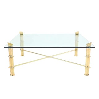 Faux Bamboo Large Heavy Cast Brass Square Coffee Table For Sale