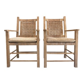 Vintage Coastal Arm Chairs After Guillerme Chambron - a Pair For Sale