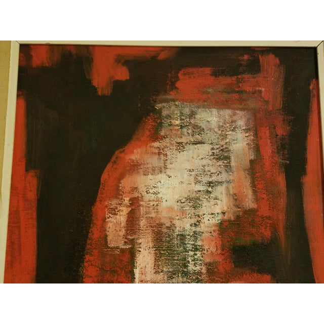 Mid-Century Abstract Oil Painting - Image 6 of 8