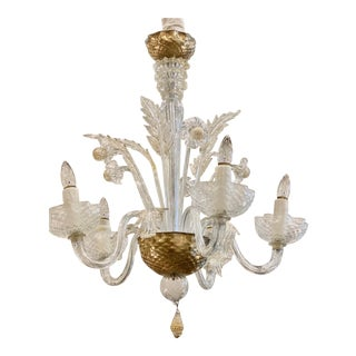 Vintage Late 18th Century Murano Glass With Gold Inclusions Chandelier For Sale