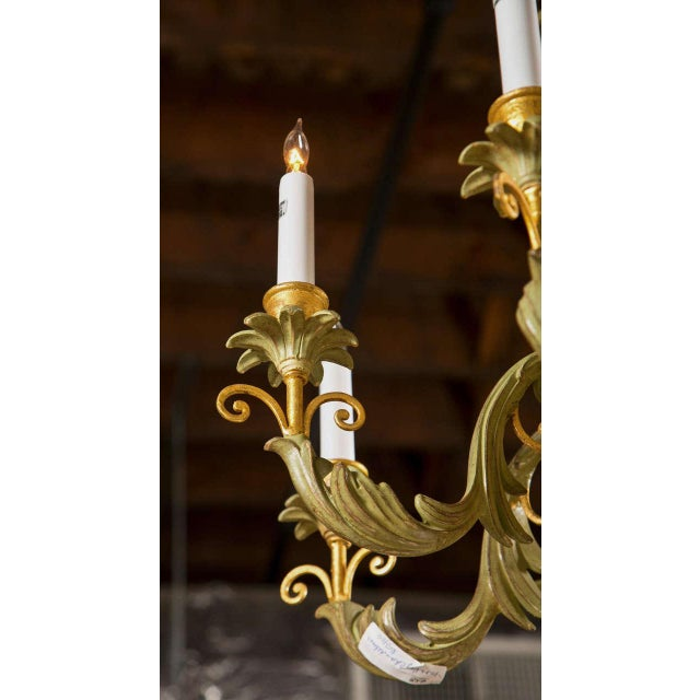 French Wood Foliate Chandelier - Image 7 of 7