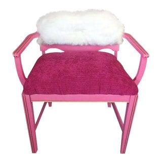 1950s Vintage Art Deco Hot Pink Vanity Chair For Sale