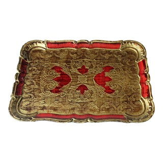 1960s Wooden Florentine Red and Gold Tray For Sale