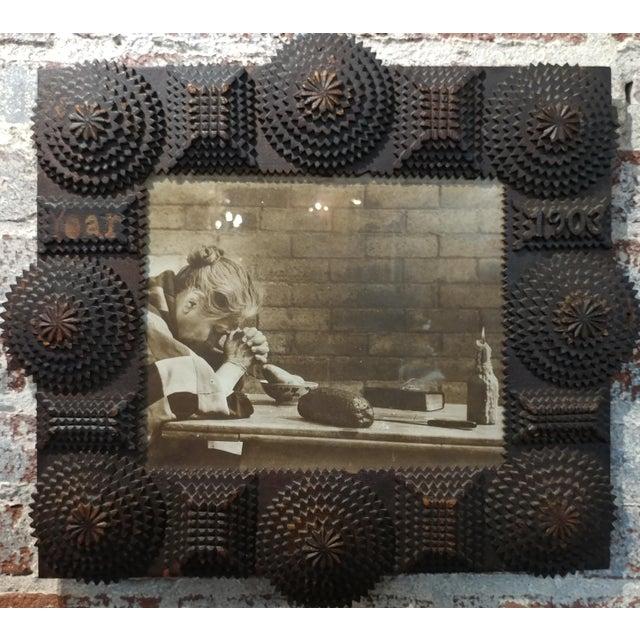 Folk Art 1903 Antique Tramp Art Wooden Picture Frame For Sale - Image 3 of 10