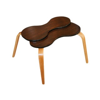 Two-Tone Bent Plywood Side Table in the Style of Jens Risom For Sale