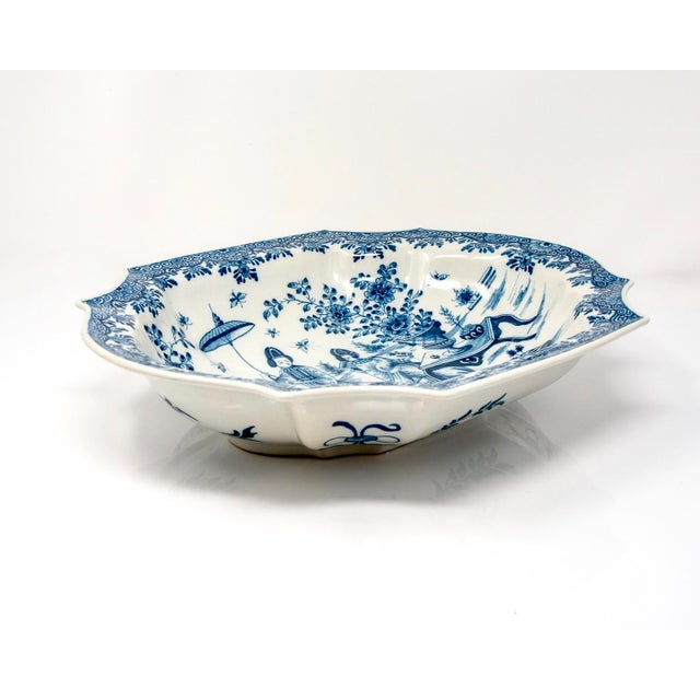 Chinoiserie Blue and White Delft Platter With Chinoiserie Design For Sale - Image 3 of 10