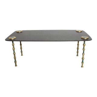 Pepe Mendoza Coffee Table Mid Century Mexican Modernist in Marble, Brass and Malachite For Sale