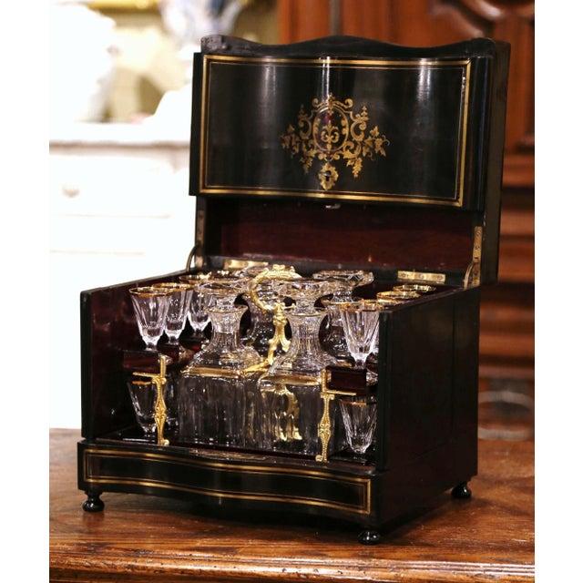 19th Century French Napoleon III Mahogany and Bronze Inlaid Liquor Box For Sale - Image 13 of 13