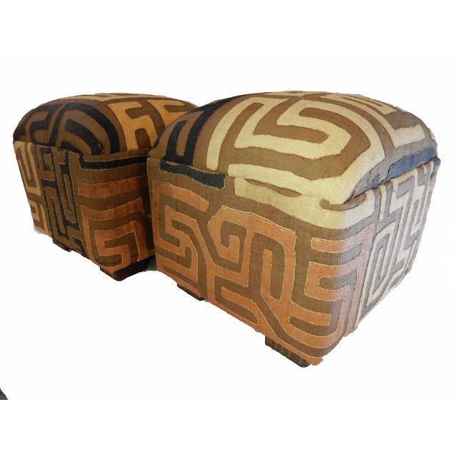 Upholstered Kuba Ottomans - a Pair - Image 3 of 6