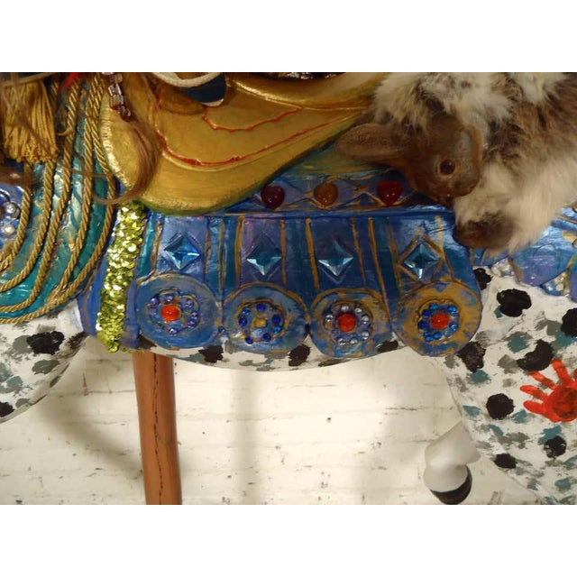 Mid 20th Century Vintage Antique Hand-Painted Wooden Horse For Sale - Image 5 of 10