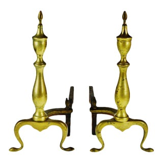 Vintage Puritan Federal Style Brass Andirons - a Pair For Sale