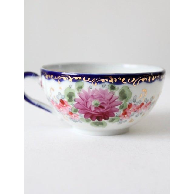 White Antique Tea Cup With Gilt For Sale - Image 8 of 10