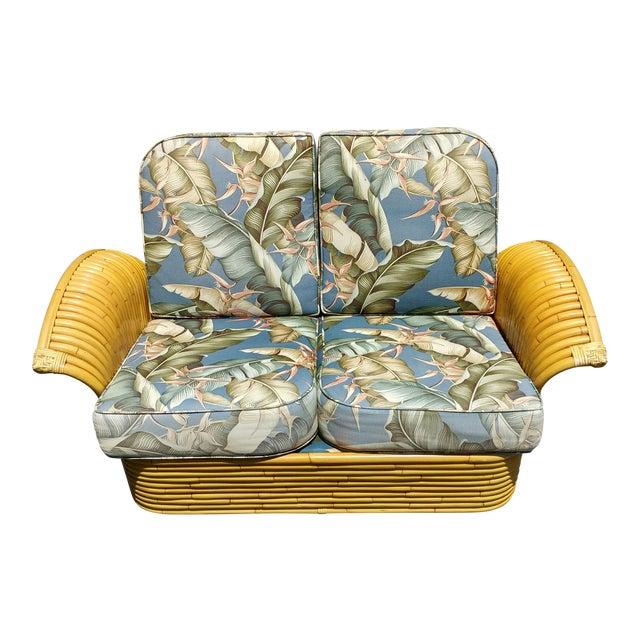 Art Deco Rattan Fan Arm 2 Seat Sofa - Image 1 of 8