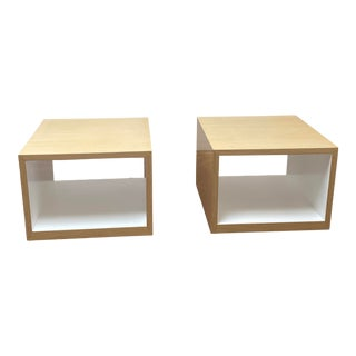 Lauren Rottet for Decca Home Modern Oak Veneer Side Tables - a Pair For Sale