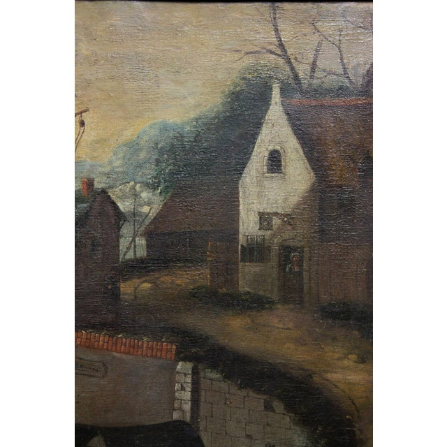 Flemish Oil on Canvas Painting of a Boat in Harbor For Sale - Image 4 of 11