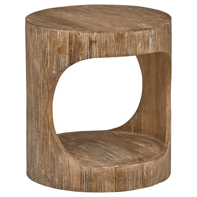 Tan Miramar Cutout Wooden Side Table For Sale - Image 8 of 8