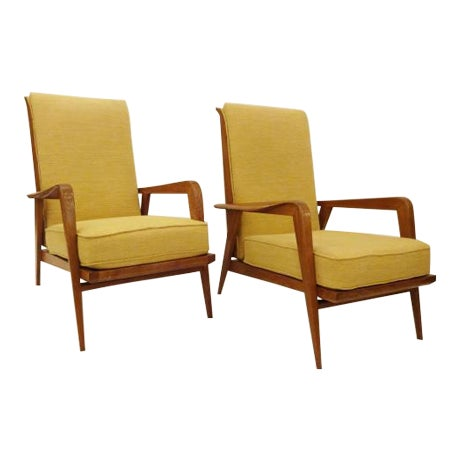 Etienne Henri Martin Pair of Modernist Reclining Lounge Chairs in Oak, edited by Steiner For Sale