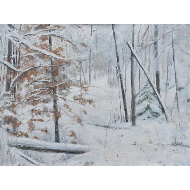 """Titled """"Snowy Hillside"""". Quiet stillness as a storm clears out. This is professional grade acrylic on canvas and measures..."""