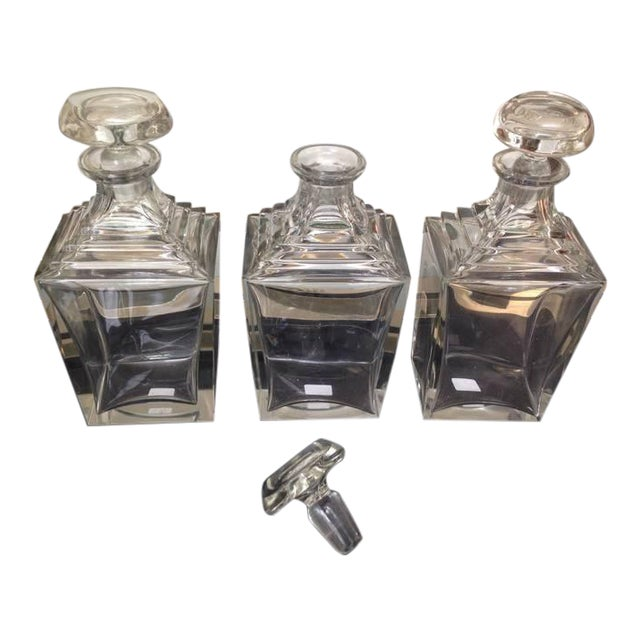 Transparent Set of 3 Art Deco Thick Crystal Decanters For Sale - Image 8 of 8
