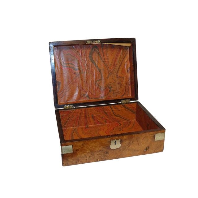 Burl Walnut Box With Brass Accents. English 19th Century For Sale - Image 4 of 6