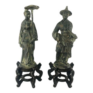 Vintage Pair of Chinoiserie Figures on Wooden Carved Asian Style Stands For Sale