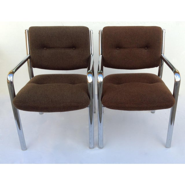 Vintage Chrome Arm Chairs w/Knoll Textile - A Pair - Image 6 of 11