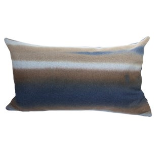 Firmamenta Italian Hand Dyed Blue and Brown Virgin Wool Abstract Lumbar Pillow For Sale