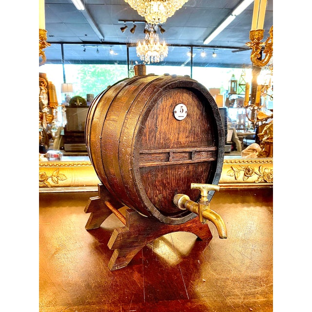 Brown 19th Century French Oak Cognac Barrel on Stand For Sale - Image 8 of 8