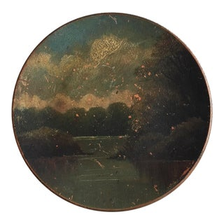 Antique Landscape Painted Red Clay Plate