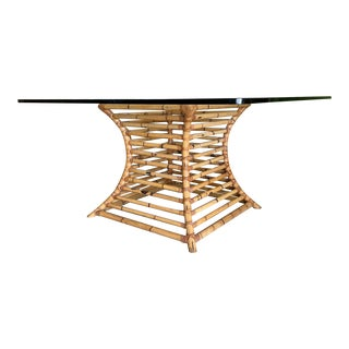 Rattan Pedestal Dining Table by Henry Olko, Circa 1975 For Sale
