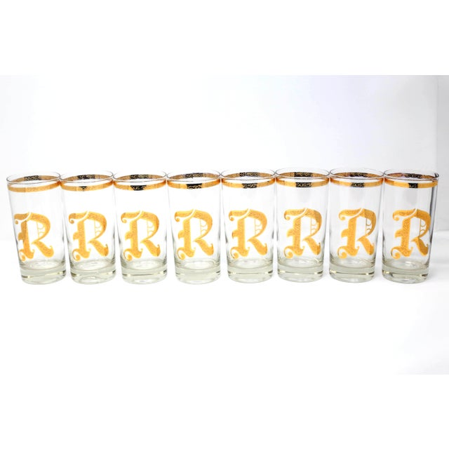 "A gorgeous, pristine condition set of 8 water or iced tea glasses with a gold script letter ""R"" and raised scroll details...."