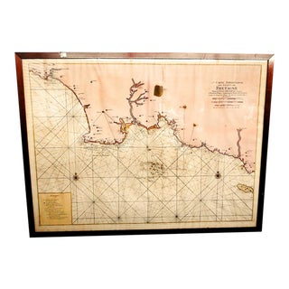 Late 18th Century Antique French Hand Colored Navigational Bretagne Map For Sale