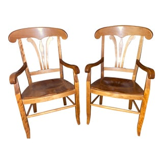Nichols & Stone Hard Rock Maple Country French Manor Arm Chairs - a Pair For Sale