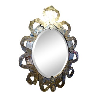 19th Century Italian Murano Glass Cartouche Shaped Mirror