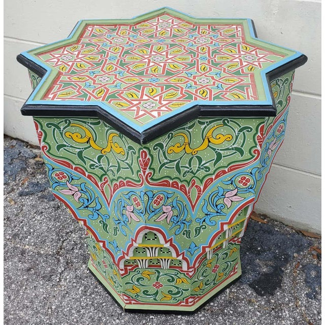 Islamic Moroccan Lg Ceuta 3 Painted and Carved Star Table, Multi-Color For Sale - Image 3 of 8