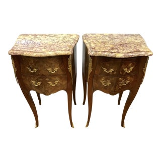 20th Century French Marble Top Bronze Nightstands - a Pair For Sale