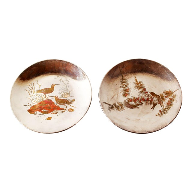 Silver Plated Mixed Metal Brass & Copper Audubon Plates for Tiffany & Co. - a Pair For Sale