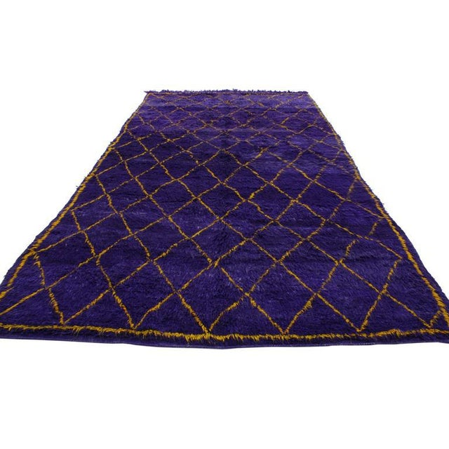 Contemporary Contemporary Berber Moroccan Rug with Boho Chic Style in Purple and Gold For Sale - Image 3 of 8