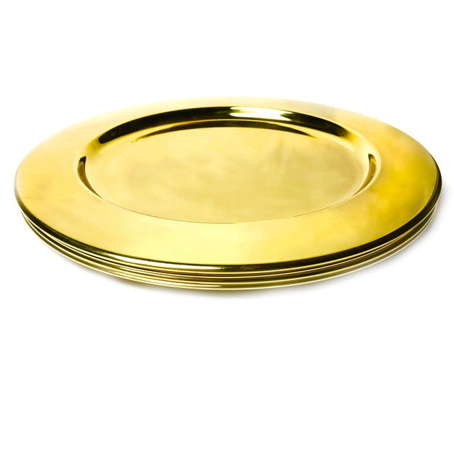 Mid-Century Modern Vintage Gold Aluminum Charger Plates - Set of 4 For Sale - Image 3 of 4