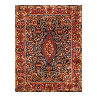 Navy Blue Semi Antique Persian Mashad Rug 9'6'' X 12'11'' For Sale