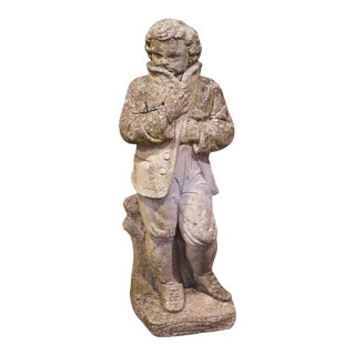 19th Century French Outdoor Carved Weathered Stone Young Man Statue For Sale