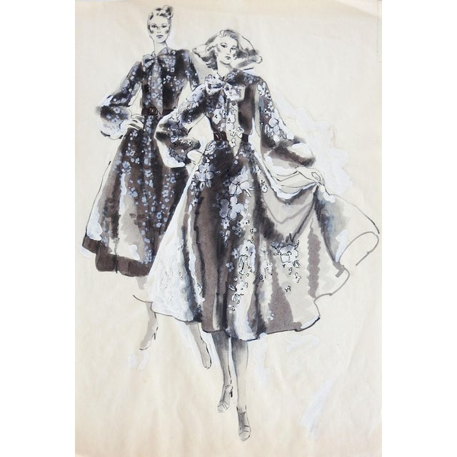 Mid-Century Modern 1990's Black & White Fashion Illustration Painting For Sale - Image 3 of 3
